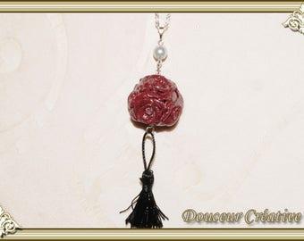 Burgundy rose necklace 110003