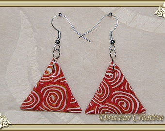 Red White Gold spiral earrings 104040