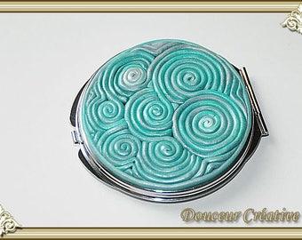 Mirror green Emerald Pearl spiral filigree 111004