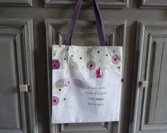 Tote bag adult white flower with personalized embroidery