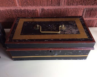 Large old tin metal cash box safety document storage brass handle made in England