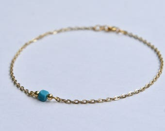 Gold and turquoise anklet