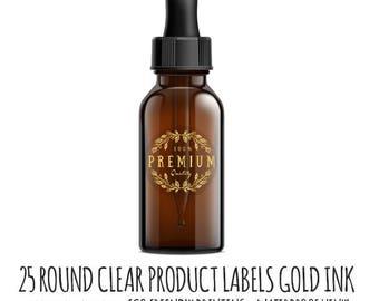 Round Sticker Labels, Gold Ink on Clear Vinyl,  25 round labels,  clear stickers, waterproof stickers, product label, Wedding Sticker,