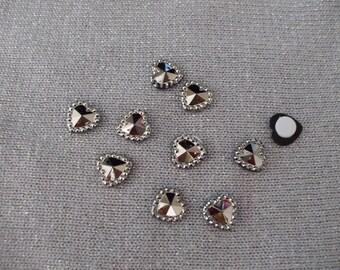 Hearts 10 mm acrylic rhinestone cabochons