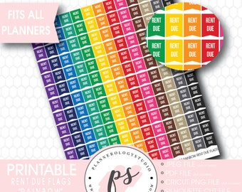 Rainbow Rent Due Flags Printable Planner Stickers (JPG/PDF/Silhouette Cut File)