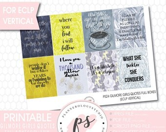 Gilmore Girls Quotes Full Box Printable Planner Stickers (for use with ECLP Vertical) (JPG/PNG/Silhouette Cut Files)