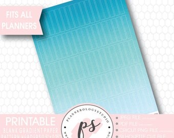 Gradient Ombre Pastel Paper Pattern Blank Header Printable Planner Stickers | JPG/PDF/Silhouette Cut Files