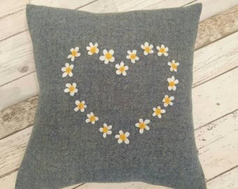 Hand Crafted Harris Tweed  blue heart cushion cover