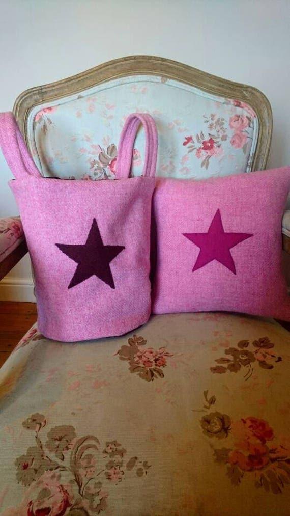 Hand Crafted Harris Tweed baby pink storage bag