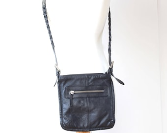 Black Leather Cross Body Bag, Travel cross-body bag, clubbing bag, passport bag