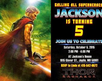 Thor Ragnarok Invitation, Thor Invitation, Thor Birthday Party, Thor Ragnarok Birthday, Avengers Invitation, Superhero Invitation