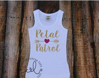 ON SALE Petal Patrol Tank Top - Bridesmaid Tank - Wedding Tank Top - Bridal Party Tank - Petal Patrol Shirt - Jr Bridesmaid Tank