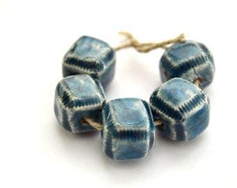 5 Blue Cube Beads, Semi-transparent Ceramic Beads, Handmade White Clay Beads, Jewelry Supplies