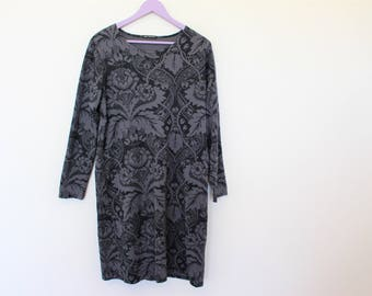 MARIMEKKO Dress Gray Abstract Print Roundneck Dress  Long Sleeves Cotton Jersey Tunic Large