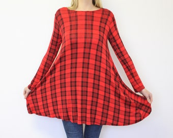 Red Tunic Checkered Dress Plaid Red Tunic Red Black Tartan Jersey Blouse Vintage Oversized Tunic Long Sleeve  Medium to Large
