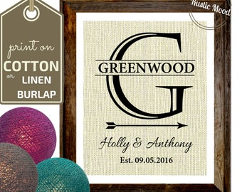 2nd Anniversary gift I  Cotton Linen Anniversary I  2 Year Anniversary I Burlap print I Cotton Gift I 4 year I Family established last name