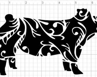 Fancy Pig Design SVG EPS DXF pdf Studio 3 Cut Files