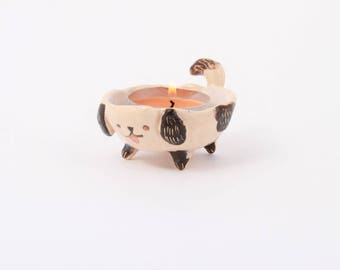 Ceramic Dog Candle Holder/ Tealight Holder/ Ceramic Cute Dog/ Candle Bowl