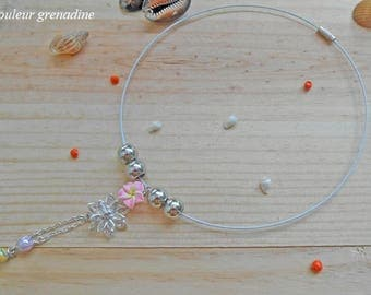Choker pink tiara and pearls charms, gift idea flower party big day, Easter