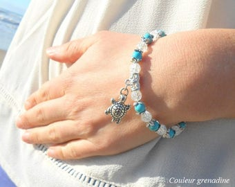 Bracelet turquoise beads, rock crystal, semi precious stone, turtle charm, gift idea for large party day, Easter