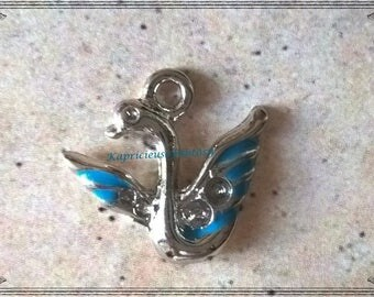 4 charms, bird, Swan, Swan, blue, silver, 20 x 19 mm