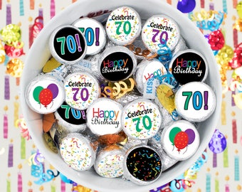 Multicolored 70th Party Favor Stickers, Happy 70 Birthday Party Decorations, Hershey Kiss Candy Labels, Envelope Seals - Set of 324