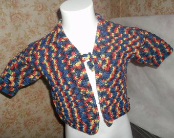 Heather jacket has long sleeves 3/4 years old hand made crochet