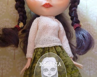 """BLYTHE COTTON SWEATER, cream colour (jointed body (""""fake"""" ) or Takara body (""""real""""))"""