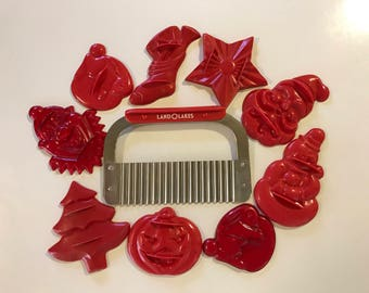 Vintage Red Plastic Cookie Cutters Set of 9 Land O Lakes Pastry Cutter Huot Stainless Sixties Chic Kitchenware Retro Bakeware