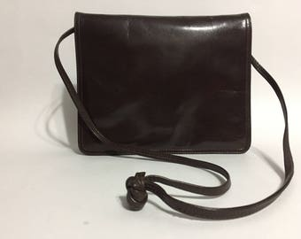 Brown Patent Leather Bag - Shoulder Purse - Gold Accent - Chocolate Brown