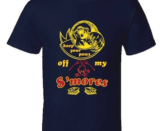 Camping T-Shirt,Keep Your Paws Off My Smores,cool camping gear,Funny Camping tees,campfire humor,camping clothing,
