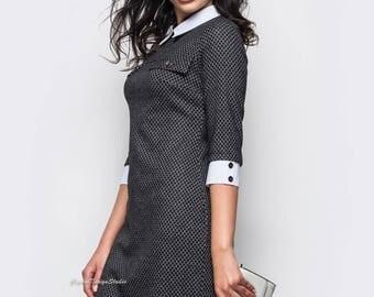 Gray dress free cut Wool Dress casual wear Midi dress Casual women's dress knee Day dress Wool dress Spring dress Gray dress