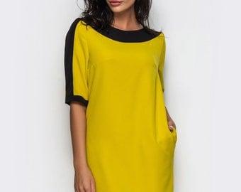 Mustard dress short sleeve Contrast dress casual Spring dress women Casual womens gown Dress-case knee Dress with pockets Green dress office