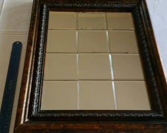 "vintage rustic rectangular framed beveled cut glass mirror 12 square design 16""x20"" - copper bronze color solid wood - wall hanging bathroom"