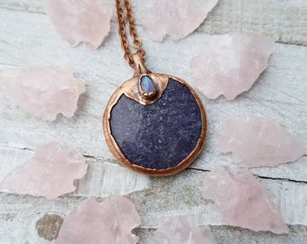 Soothing Lepidolite and Rainbow Moonstone Amulet