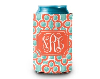 Personalized Neoprene Hugger - Teal and Coral Bubbles -Monogrammed Hugger Personalized Drink Hugger Custom Drink Holder Gifts for Her Summer