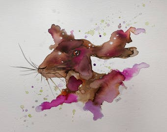 A3 Pink Hare. Original watercolour painting.