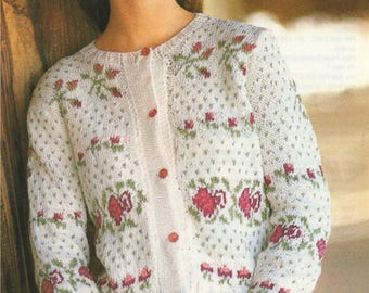 Womens Fair Isle Cardigan PDF Knitting Pattern : Ladies 32, 34, 36 and 38 inch chest . Floral Fairisle . Instant Download