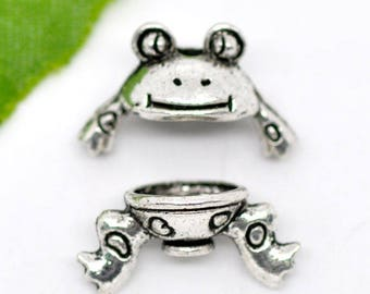 A set of 2 sets of cups frog - 15x9mm - silver - MB08765