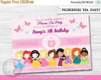 50% OFF SALE Princesses Disney, Princess Tea Party Invitation, All Princesses, Tea Party Invitation, Tea Birthday Invitation