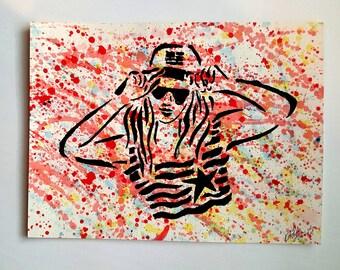 American Girl hipster love 9x12 KVicious Paper Graffiti Original Art acrylic painting