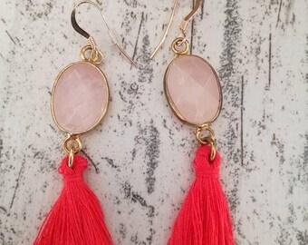 EARRINGS rose quartz and coral tassel