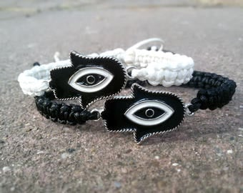 His and Her Yoga Couple bracelet set Hamsa bracelet Yin Yang bracelet matching Yoga gift for Couple Black White bracelet Shamballa bracelet
