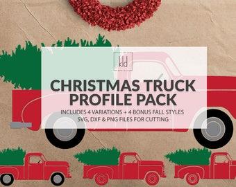 6 Little Red Truck svg - Old Truck svg - Vintage Truck svg - Christmas Truck svg - Fall Truck svg - Truck svg files - Christmas svg