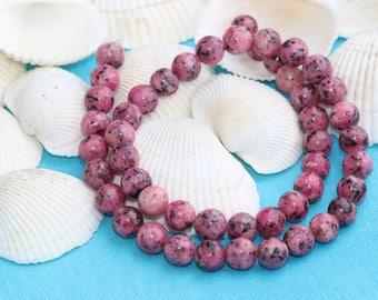8mm Full Strand Pink Rhodonite bead, Gemstone, Natural Bead, Rhodonite,8mm Rhodonite Bead,SKU/MRY18