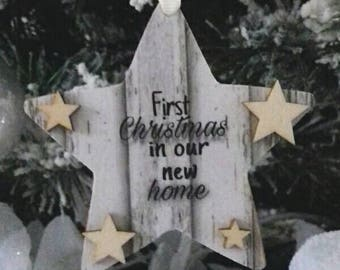 First christmas in new home, Christmas tree ornament, hanging star decoration, wooden keepsake, Christmas gift, rustic home christmas decor