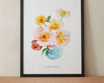 Summer Pink Yellow Peony Bouquet in Vase Watercolor Painting, Peony Flowers, Printable Art, Original art, Floral Wall Art, Instant Download