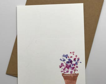 Hand-stamped flower postcards