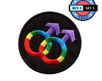 Rainbow Color Gay Sign Signal Embroidered Iron On Patch Heat Seal Applique Sew On Patches
