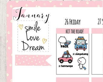 road trip planner stickers, travel stickers , weekend/driving/car/on the road/tour/vacation/cute stickers,  happy planner sticker,  MM014